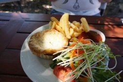 Kangaroo pie and chips at The Laughin' Barrel Swan Valley Perth